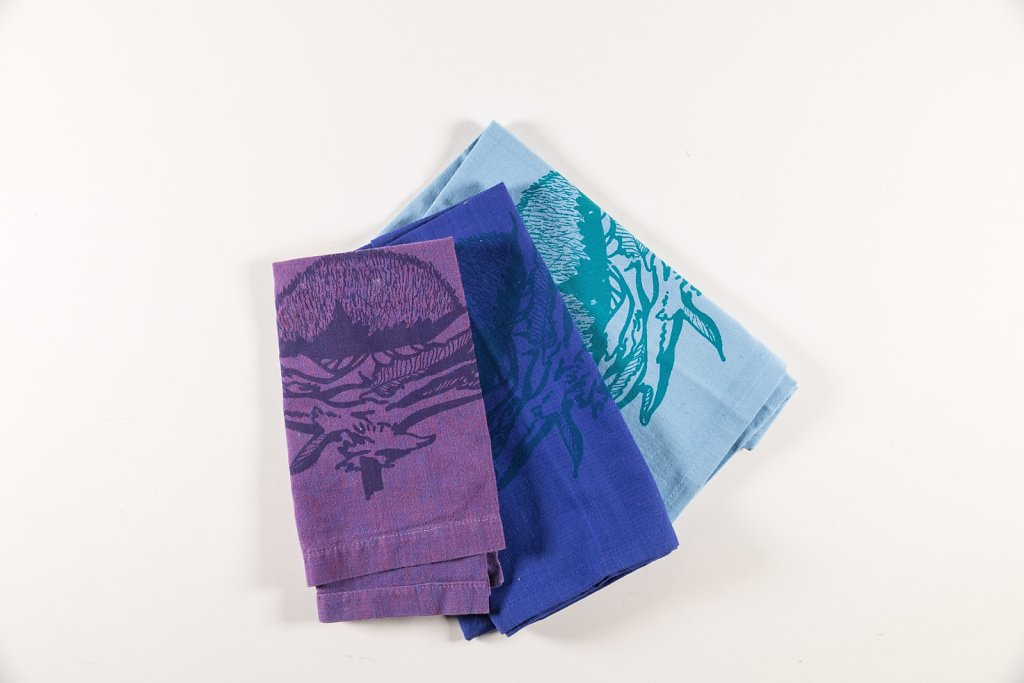 Thistle on cotton napkins
