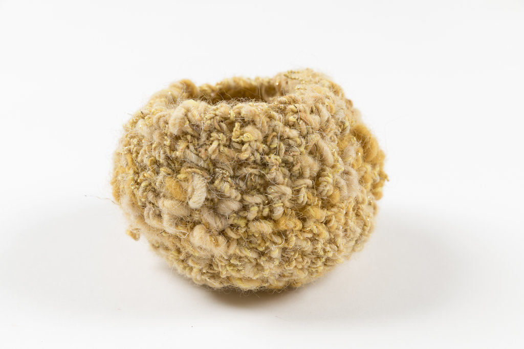 Handspun wool bowl in gold