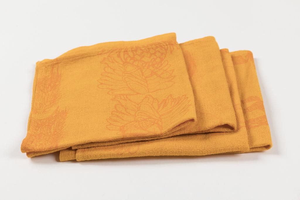 Botanicals on reclaimed napkins